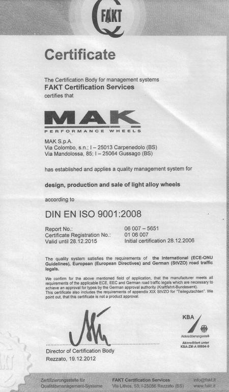 Certificato Mak
